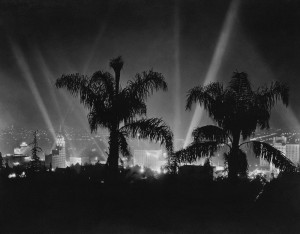 hollywood spotlights in black and white