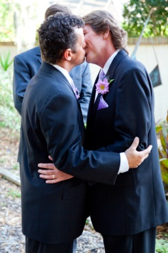 Two grooms kiss after ceremony L.A. Banquets