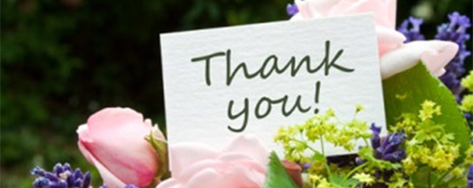 Thank you note with flowers