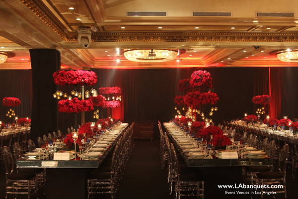 Glenoaks Ballroom  Banquet Hall with mirror top tables