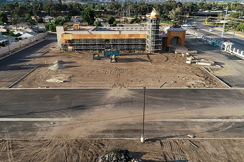 LA Banquets - The Landmark under construction, aerial photo
