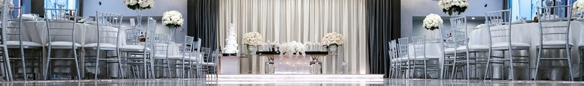 Shiny white dance floor at Legacy Banquet Hall