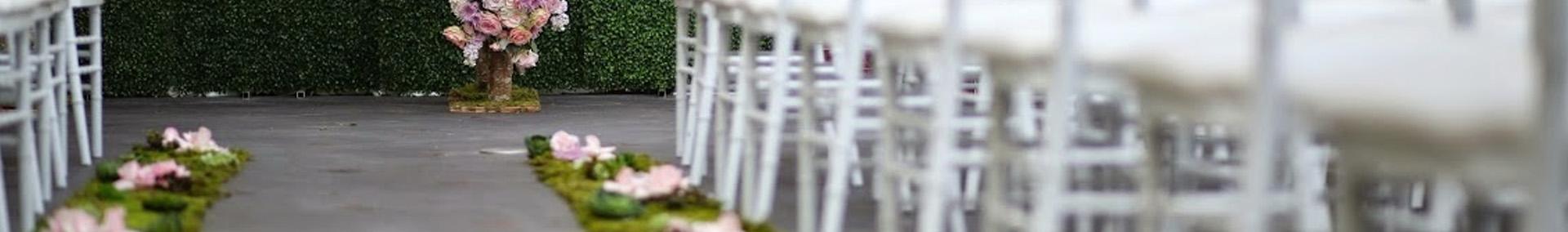 Outdoor wedding venue prepared for wedding ceremony