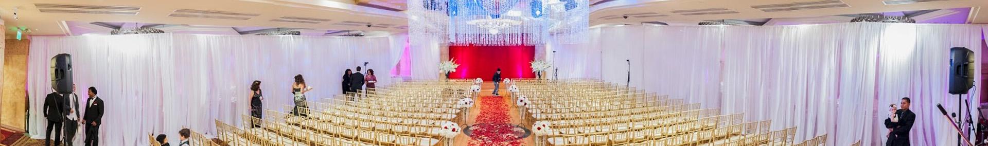 Wedding ceremony setup on dance floor