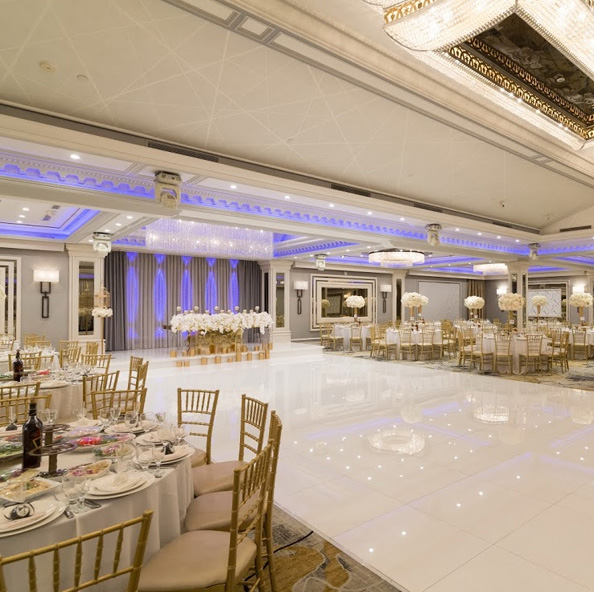 Shiny white dance floor in glendale banquet hall