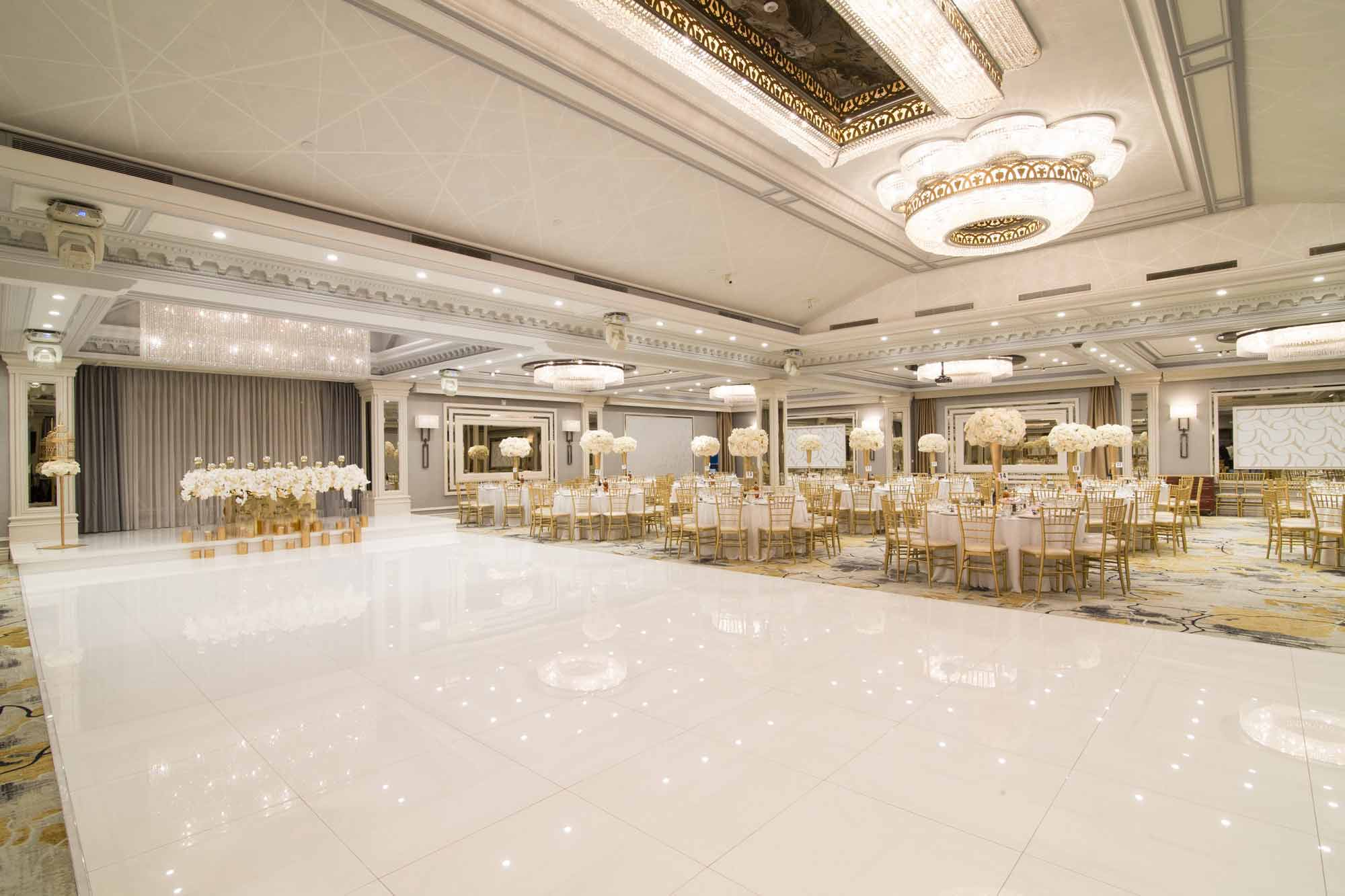 Modern Banquet Hall in Glendale CA with White Dance Floor