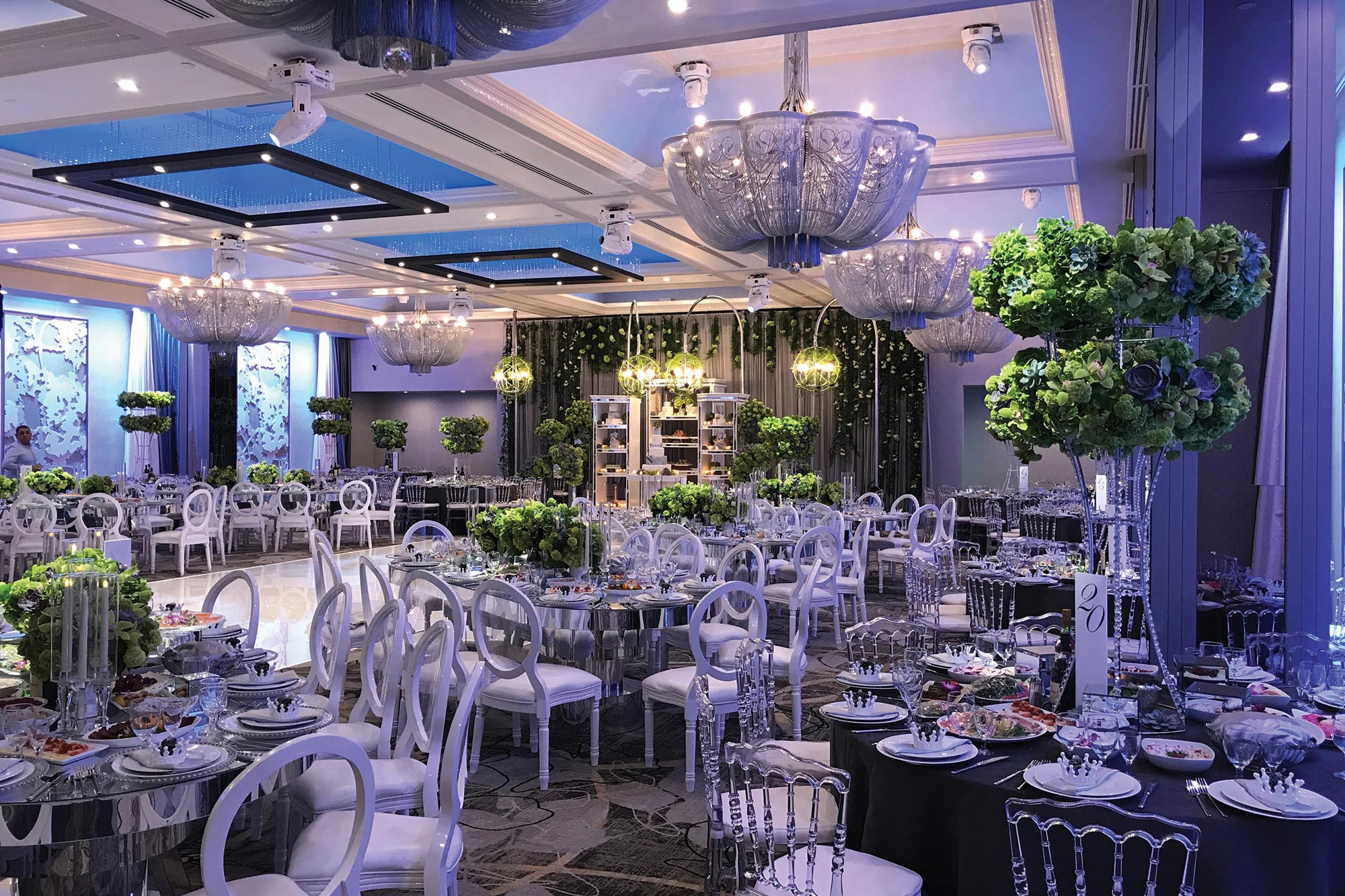 modern banquet hall in glendale CA, with Video wall backdrop